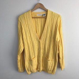 Talbots Sweater Sz M Cardigan Crochet Yellow